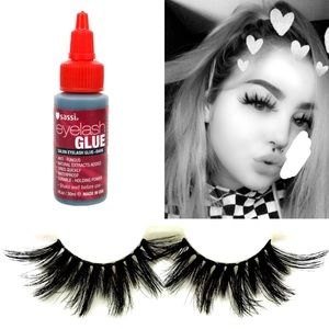 1 Pair Faux Mink Lashes & Dark Waterproof Glue